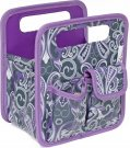 Everything Mary Makers Desktop Tote - Gray & Purple Paisley with Purple Trim