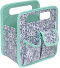 Everything Mary Makers Desktop Tote - Gray & White Print with Mint Trim