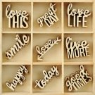 Kaisercraft Themed Mini Wooden Flourishes - Little Words (45 pack)