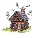 Class Act Cling Stamp - Haunted House