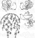 Heartfelt Creations - Flowering Dogwood & Doves  Pre-Cut Cling Mounted Stamp Set (4 stamps)