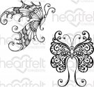 Heartfelt Creations - Fluttering Butterfly Pre-Cut Cling Mounted Stamp Set (2 stamps)
