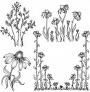 Heartfelt Creations - Garden's Edge Coneflower Pre-Cut Cling Mounted Stamp Set (4 stamps)