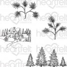 Heartfelt Creations - Snowy Pine Village Pre-Cut Cling Mounted Stamp Set (4 stamps)