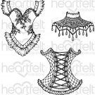 Heartfelt Creations - Floral Corset Pre-Cut Cling Mounted Stamp Set (3 stamps)