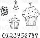 Heartfelt Creations - Sprinkled Confetti Cupcakes Pre-Cut Cling Mounted Stamp Set (5 stamps)
