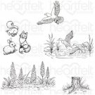 Heartfelt Creations Pre-Cut Cling Rubber Stamp Set - Create A 'scape Nature (5 stamps)