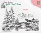 Nellies Choice Clearstamp - Idyllic Floral Scenes Horse and Cart
