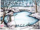 CC Designs Rubber Stamps - Winter Lake