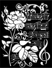 Stamperia 20x25cm Thick Stencil - Rose and Music