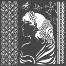 Stamperia 18x18cm Thick Stencil - Hortensia Lady Side