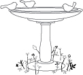 Memory Box Clear Stamp - Woodland Birdbath
