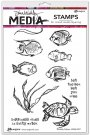 Dina Wakley Media Cling Stamps - Scribbly Fishes