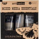 Prima Finnabair Art Basics Mixed Media Essentials - Clear, White & Black Gesso (3 pack)