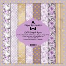 "Paper Favourites 6""x6"" Paper Pack - Gold Purple Roses (24 sheets)"
