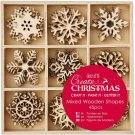 Docrafts Mixed Wooden Shapes - Small Snowflakes (45 pieces)
