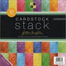DCWV Single-Sided 12x12 Cardstock Stack - Glitter Brights with White Core (30 sheets)