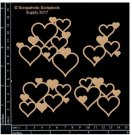 Scrapaholics Laser Cut Chipboard 1.8mm Thick - Heart Clusters, (4 pack)