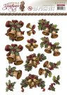 Amy Design 3D A4 Pushout Decoupage Sheet - Christmas Greetings Bells