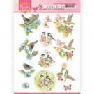 Jeanines Art Die-Cut 3D Decoupage Sheet - Happy Birds Feathered Friends