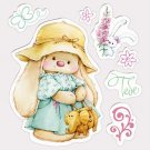 Scrapberrys Clear Stamp Set - Summer Joy Bunny in Panama Hat