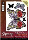 Sheena Douglass Perfect Partners Day of the Dead A6 Unmounted Rubber Stamp - Butterfly Rose