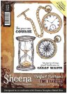 Sheena Douglass Perfect Partner Time Traveller A6 Unmounted Rubber Stamp - Timepieces
