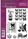 Stamp It Imagine Unmounted Rubber Stamp - Birds & Butterflies
