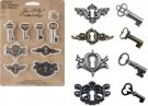Tim Holtz Idea-Ology Metal Locket Keys & Keyholes (8 pack)