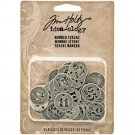 "Tim Holtz Idea-Ology 0.75"" Metal Number Tokens - Antique Silver (31 pack)"