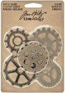 Tim Holtz Idea-Ology Metal Gadget Gears - Antique Nickel, Brass & Copper (5 pack)