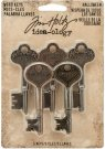 Tim Holtz Idea-Ology Metal Word Keys - Halloween Antique Nickel Brass Copper (5 pack)