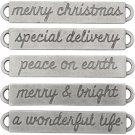 Tim Holtz Idea-Ology Metal Word Bands - Antique Nickel Christmas (5 pack)