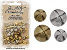 Tim Holtz Idea-Ology Brad Fasteners - Antique Brass & Nickel Jingle Bells (28 pack)