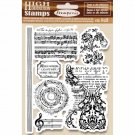 Stamperia Cling Mounted Natural Rubber Stamps - Music Beginning