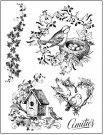 Stamperia Cling Mounted Natural Rubber Stamps - Nests