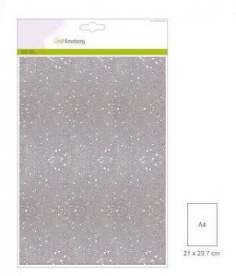 CraftEmotions Glitter Paper - White (5 sheets)