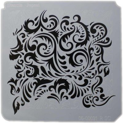 "iStencils 5""x5"" Stencil - Feathered Damask"