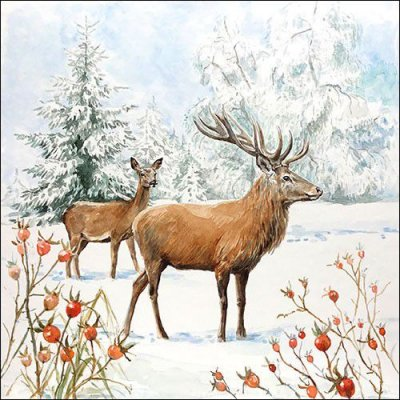 CraftEmotions Servetter / Napkins - Deer In Snow
