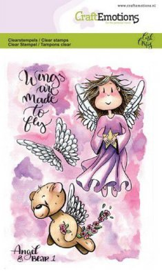 Craftemotions A6 Clearstamp Set - Angel & Bear #1
