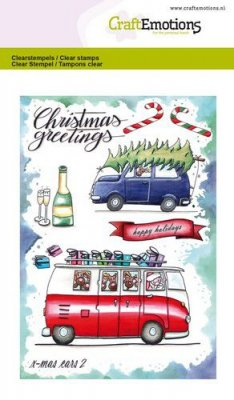 CraftEmotions A6 Clearstamps - Xmass Cars #2