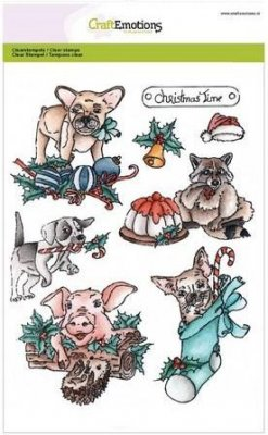 CraftEmotions A5 Clearstamp Set - Christmas Pets #1