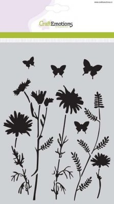CraftEmotions A5 Mask Stencil - Field Flowers