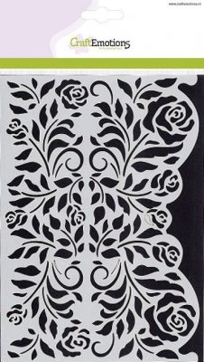 CraftEmotions A5 Mask Stencil - Roses Ornament Borders