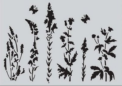CraftEmotions A5 Mask Stencil - Life and Garden Herbs Fields