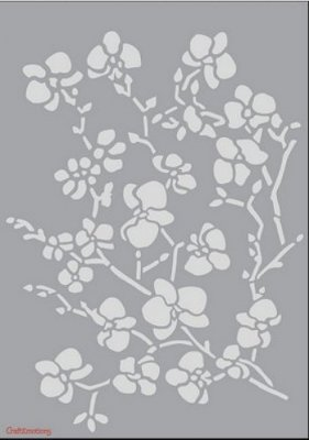 Craftemotions A5 Mask Stencil - Orchid Branches