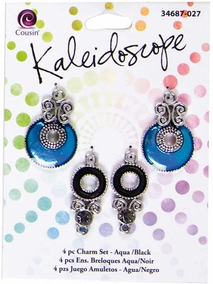 Cousin Kaleidoscope Charm Set - Aqua/Black (4 charms)
