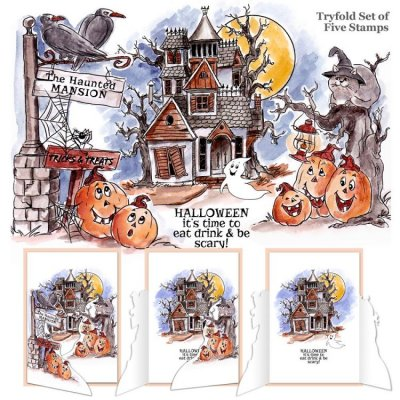 Art Impressions TryFolds Cling Rubber Stamps - Haunted House
