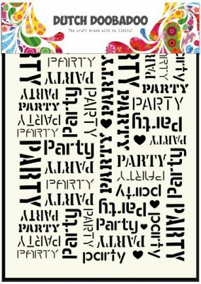 Dutch Doobadoo A5 Mask Art Stencil - Party Background Text