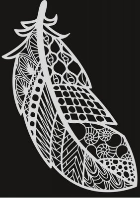 Pronty A4 Mask Stencil - Feather Zentangle